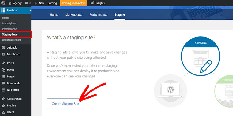bluehost staging